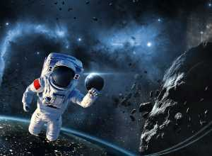 satellite around astronaut
