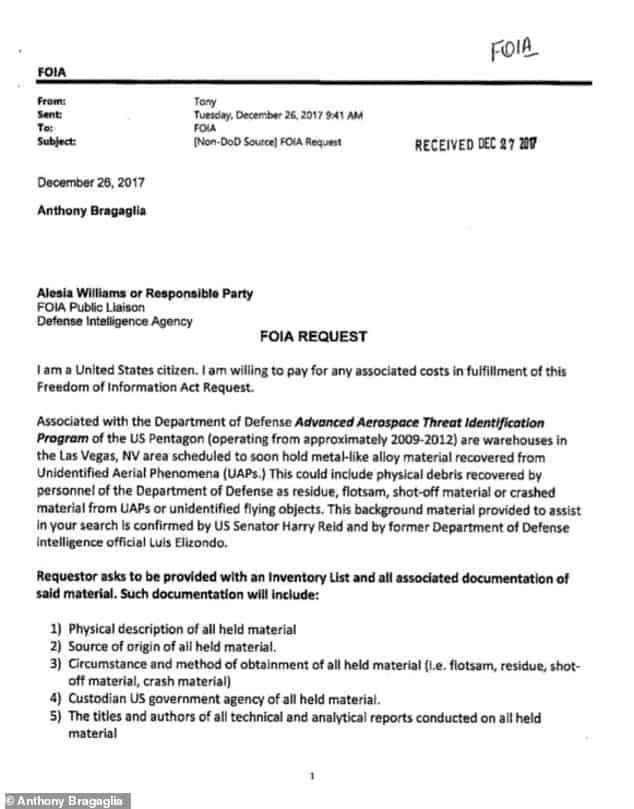 Anthony Bragalia filed request